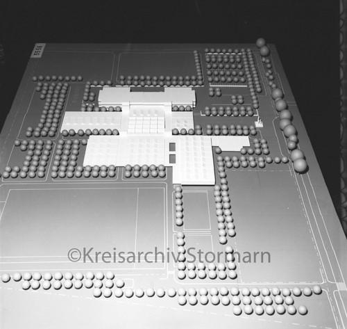 Gewinnermodell aus dem Architektenwettbewerb für das Schulzentrum am Heimgarten, 1971