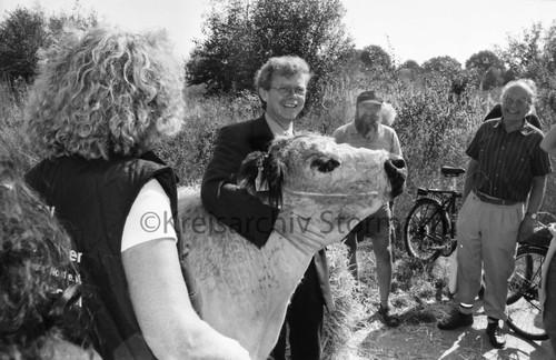 Eröffnung der Sondernutzungsfläche im Naturschutzgebiet Höltigbaum durch den schleswig-holsteinischen Umweltminister Rainder Steenblock, 05.09.1999
