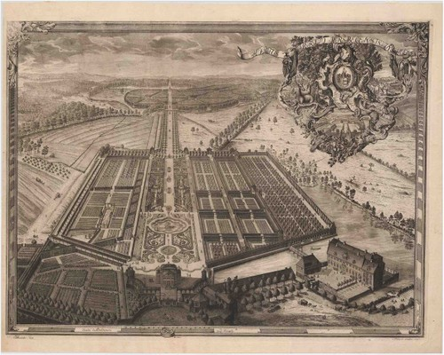 Kupferstich des Barockgarten Jersbek, 1747