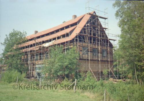 Gebäude während der Sanierung, Ende 1970er Jahre