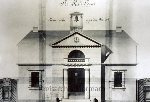 Dia mit Entwurf für Neubau des Oldesloer Rathauses, (1806)